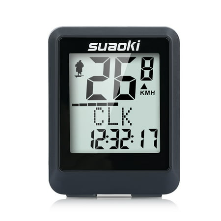 Suaoki Wireless Bicycle Computer, Speedometer, Bike Odometer, Backlit Display and Multifunctions Tracking Distance, Speed, Time, Calories, Temperature, CO2, Black (Vdo Bike Computer)