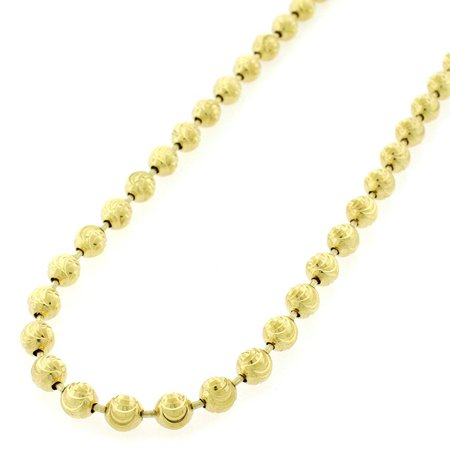 Sterling Silver Italian 5mm Ball Bead Moon Cut Solid 925 Yellow Gold Plated Necklace Chain 24