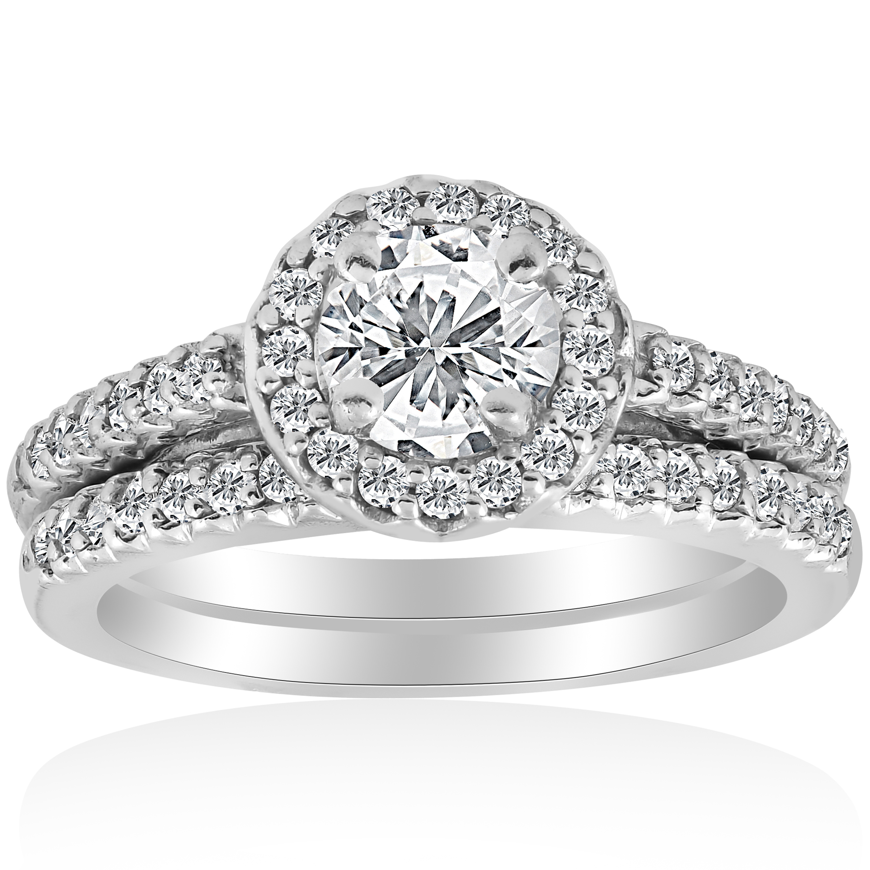 3 4ct Halo Diamond Engagement Ring Matching Wedding Band White Gold Solitaire by Pompeii3