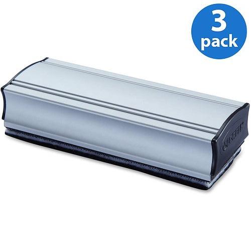 (3 Pack) Lorell, LLR59265, Magnetic Eraser, 1 Each, Silver,Black