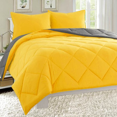 Dayton Queen Size 3-Piece Reversible Comforter Set Soft Brushed Microfiber Quilted Bed Cover Gray & Yellow