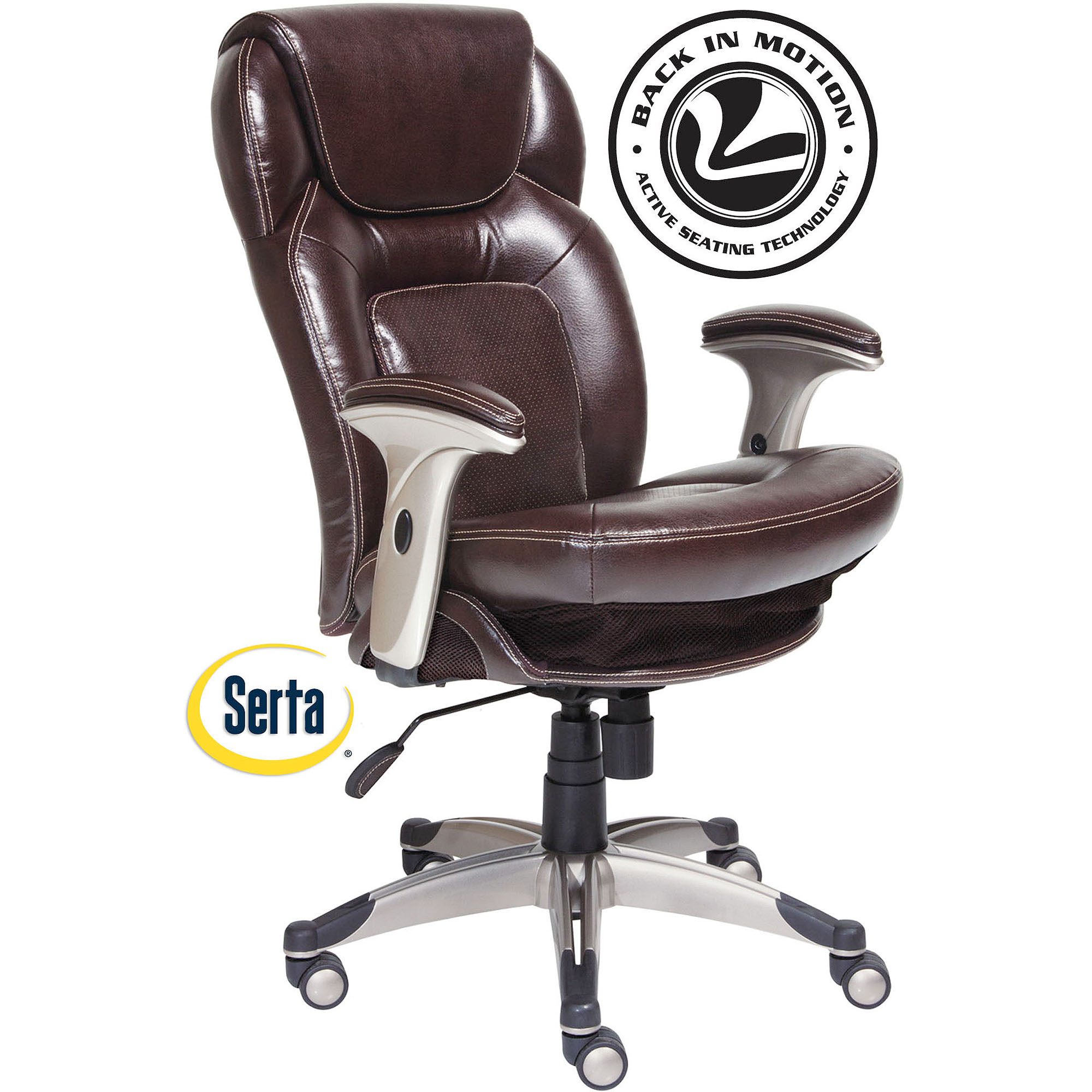 Serta Back in Motion Health and Wellness Mid-Back Bonded Leather Office Chair, Frye Chocolate