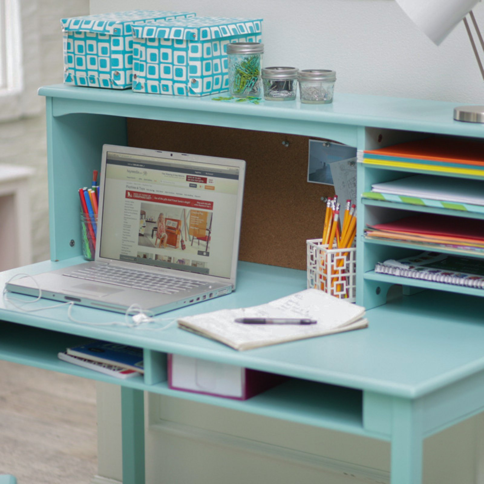 Guidecraft Media Desk amp Chair Set Teal Walmartcom