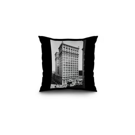 Spokane  Wa View Of Old National Bank Building Photograph  16X16 Spun Polyester Pillow  Black Border