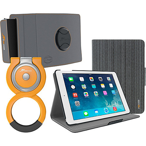 rooCASE Orb 360 Folio Shell Case + Orb 360 Loop and Strap Bundle for iPad Air 2/1