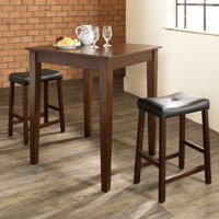 Crosley Furniture 3-Piece Pub Dining Set with Tapered Leg and Upholstered Saddle Stools