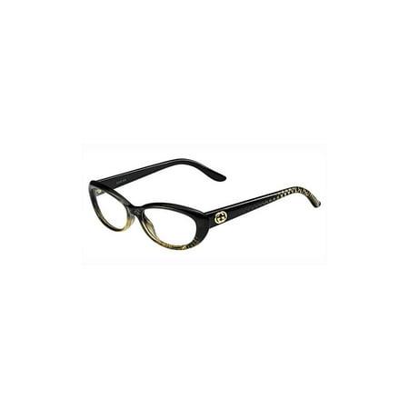 gucci womens eyeglasses 3566 w8h16 plastic oval black gold frames - Womens Gucci Frames