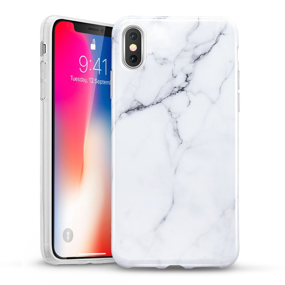 the latest 5979c 02fc0 iPhone X Case, iPhone X Marble Case, ESR Slim Soft Flexible TPU Marble  Pattern Cover for Apple iPhone X (2017 Release)(Black Sierra)