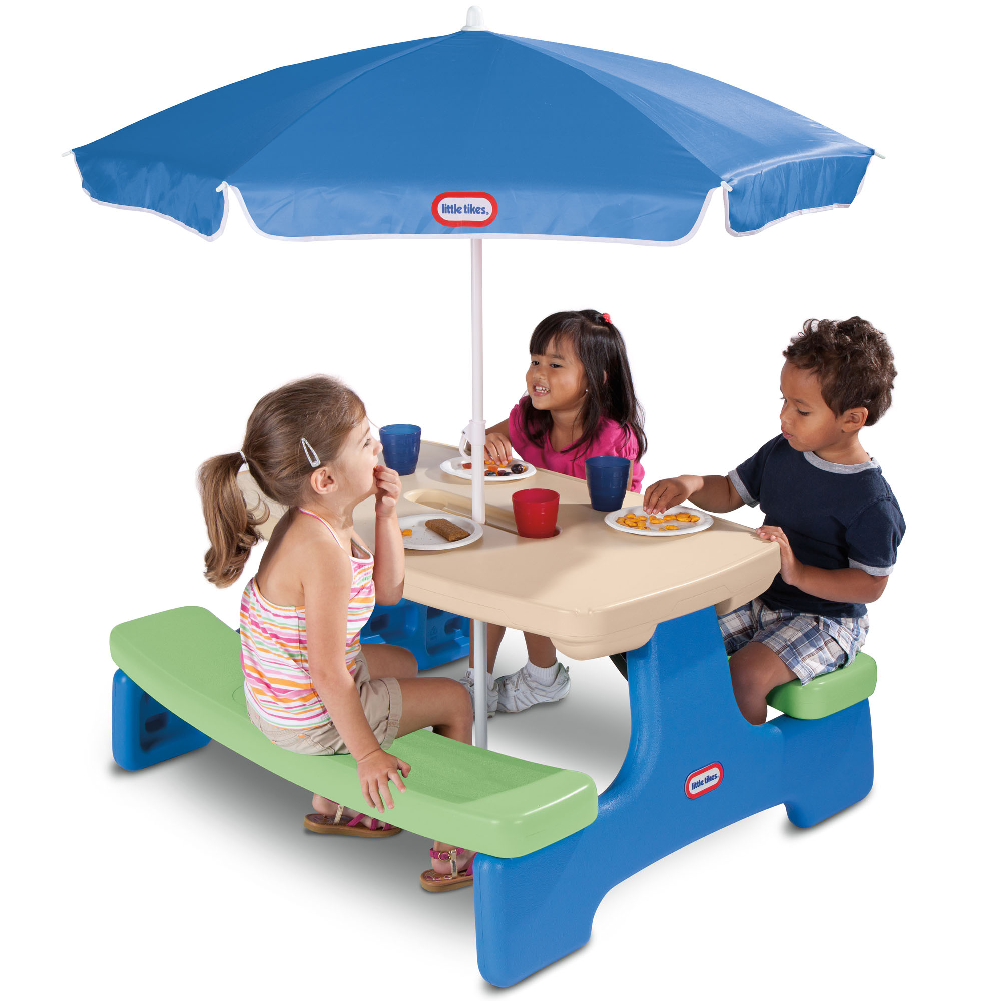 Little Tikes Easy Store Kids Picnic Table with Umbrella by MGA Entertainment