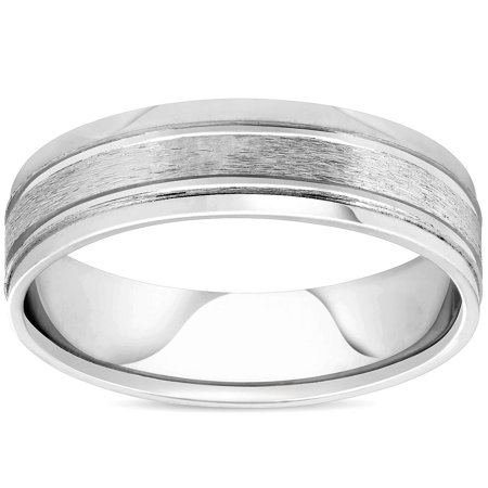 Men's Brushed 6mm Flat Wedding Band Ring Solid 10K White Gold - image 2 of 2