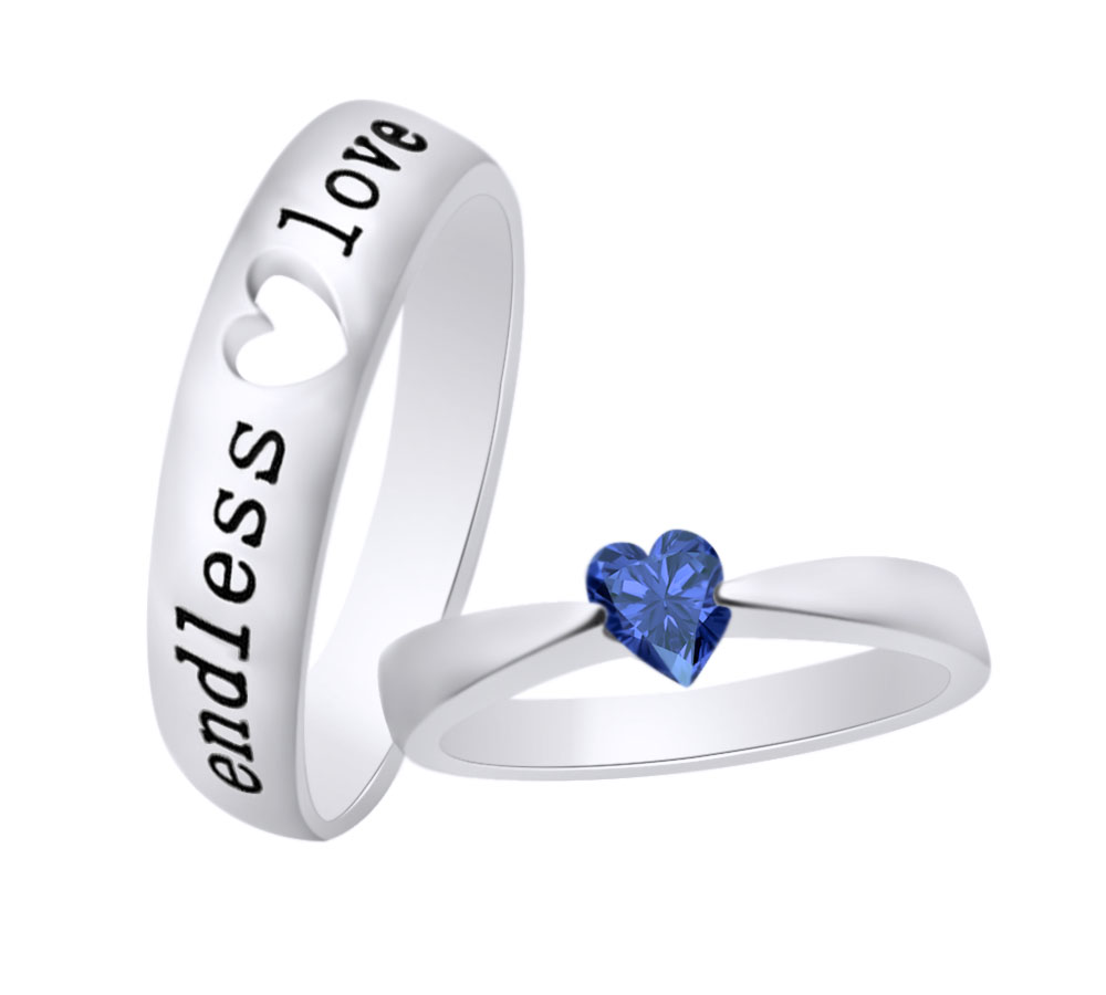Mother's Day Sapphire Halo Engagement Promise Ring 14K White Gold Over Silver