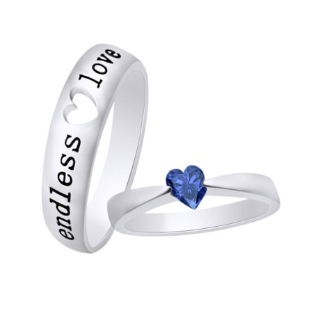 Heart Shape Simulated Blue Sapphire Valentine's Day Couple Endless Love Promise Ring In 14K White Gold Over Sterling Silver With Ring Size-4