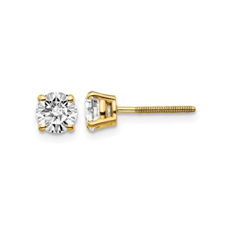 1.00 Carat (ctw VS2-SI1, G-H-I) Round Diamond Solitaire Stud Earrings in 14K Yellow Gold - image 2 de 2