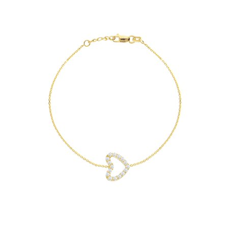 14k Yellow Gold Mini Heart Bracelet Yellow Gold on Sterling Silver Cubic Zirconia East2West (TM)