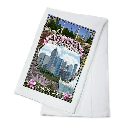 Atlanta, Georgia - City Scenes Montage - Lantern Press Poster (100% Cotton Kitchen (Kids Atlantic City)