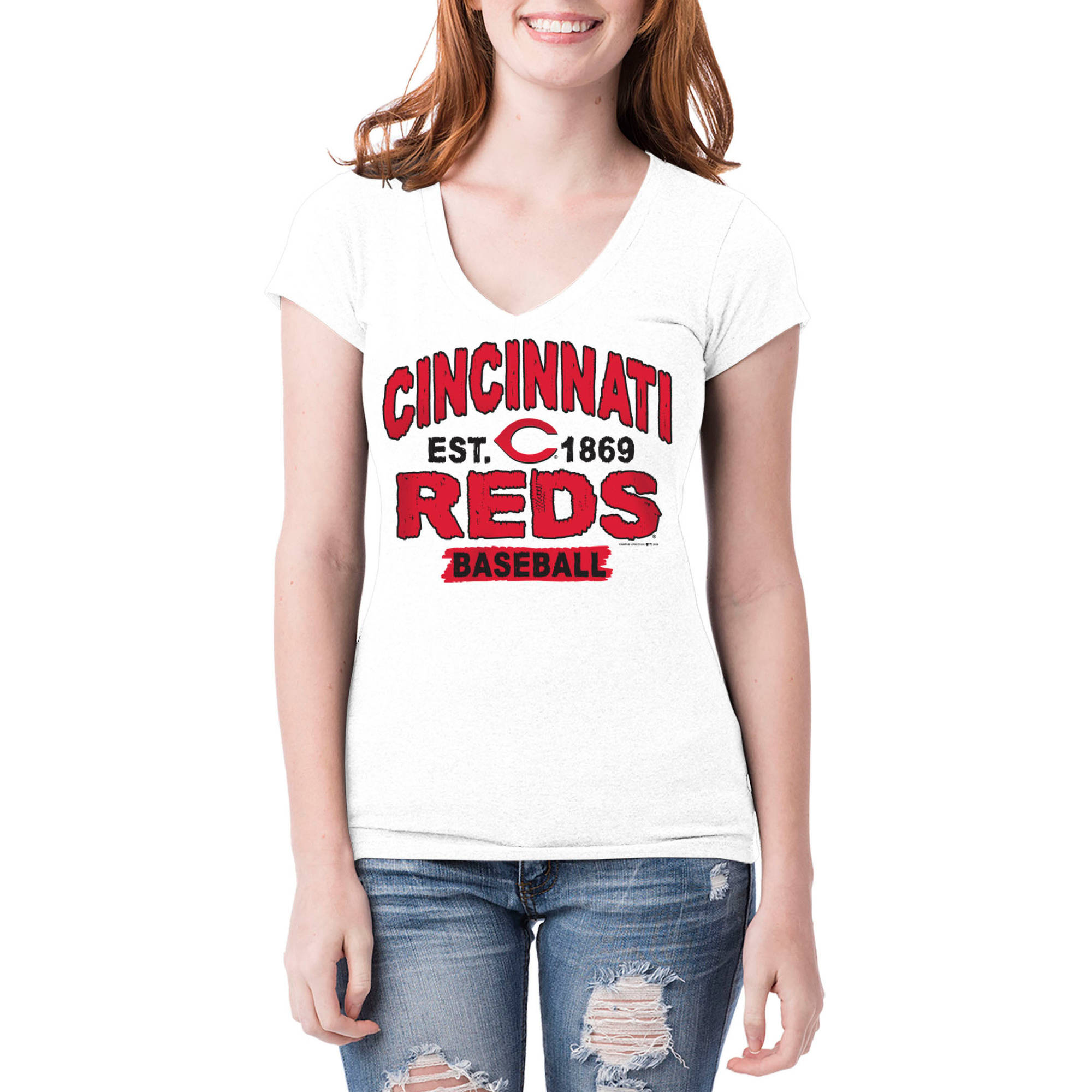 Cincinnati Reds Womens Short Sleeve White Graphic Tee