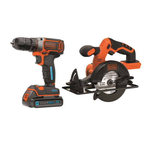 BLACK+DECKER BDCDDBT120CS SMARTECH 20V MAX Lithium-Ion Drill Driver and Circular Saw Cordless Combo Kit