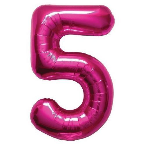 "Northstar Solid Color Number 5 Jumbo Helium Shape 34"" Foil Balloon, Magenta"