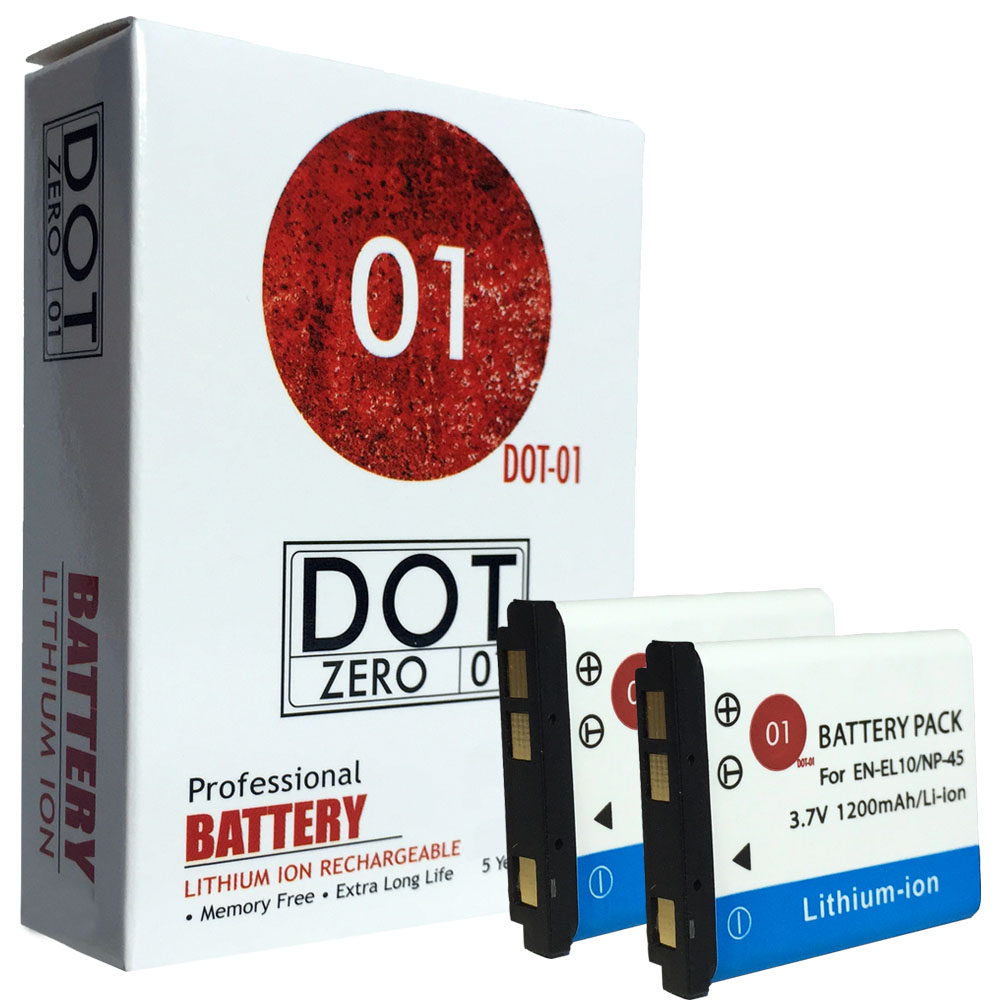 2x DOT-01 Brand 1200 mAh Replacement Fujifilm NP-45A Batteries for Fujifilm T200 Digital Camera and Fujifilm NP45A