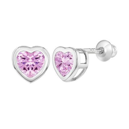 In Season Jewelry 925 Sterling Silver CZ Small Heart Screw Back Earrings Baby Girl