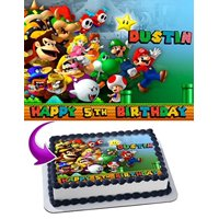 Mario Bros Nintendo Joshi Luigi Edible Cake Topper Personalized Birthday 1/4 Sheet Decoration Custom Sheet Birthday Frosting Transfer Fondant Image