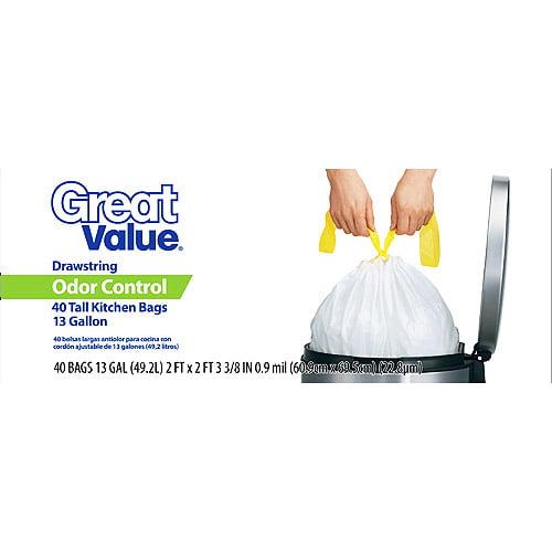 Great Value Odor Control Drawstring 13 Gallon Trash Bag, 28 ct