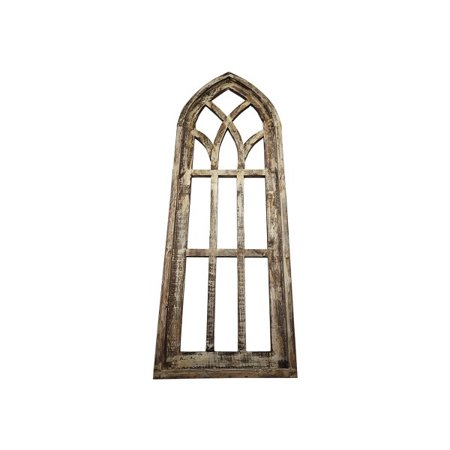 Rustic World Farmhouse Distressed Wood Medium Cathedral Window Frame Beige