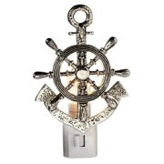 Captains Ships Wheel and Anchor Electric 7 Watt Night Light Replaceable Bulb