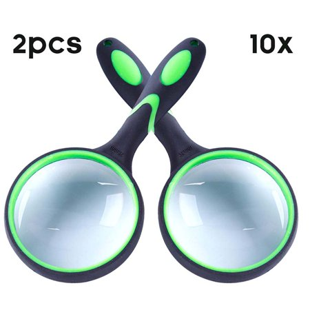 Reactionnx 10X Magnifying Glass, Handheld Reading Magnifier, 75mm Magnifying Glass Lens, Thickened Rubbery Frame with Non-Slip Soft Handle for Newspaper Reading, Insect, Science for Seniors Kids