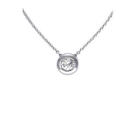 Classique 14K Gold Bezel Set Diamond Pendant Necklace](Betsey Johnson Halloween Necklace)