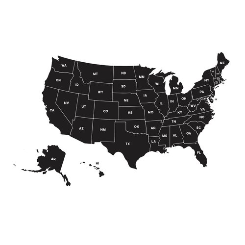 Dana Decals Map of the United States Small Wall Decal
