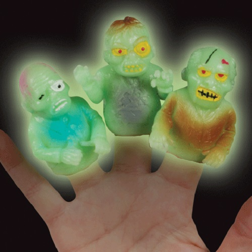 Loftus Walking Undead Zombie Halloween Finger Puppets, Glow-in-the-Dark, 48 Pack