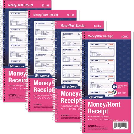 (4 Pack) Adams 2-Part Rent Receipt Book, 2 3/4 x 4 3/4, Carbonless, 200