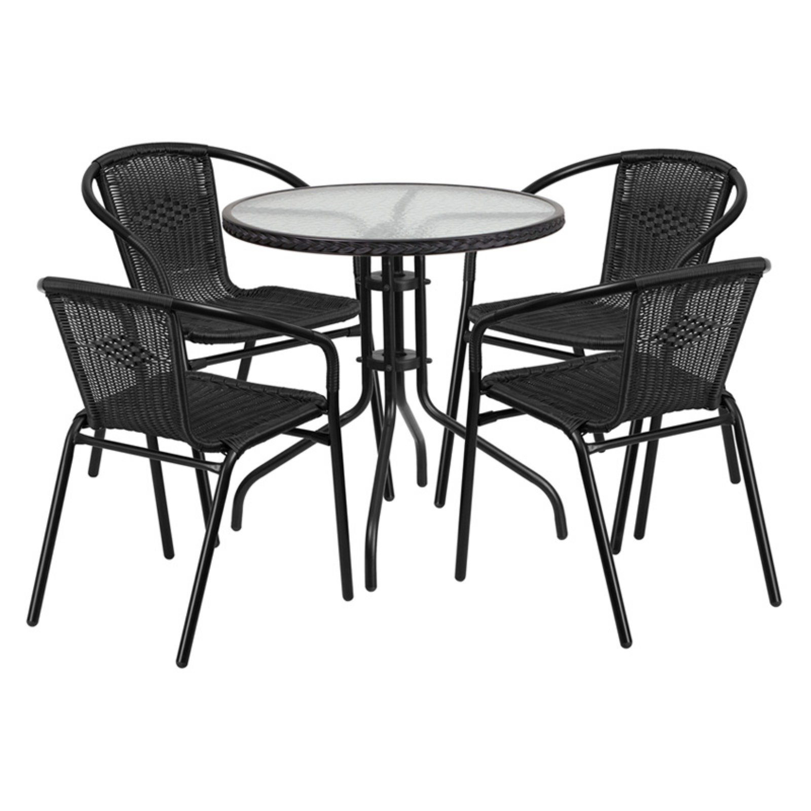 Flash Furniture 28'' Round Glass Metal Table with Rattan Edging and 4 Black Rattan Stack Chairs, Multiple Colors