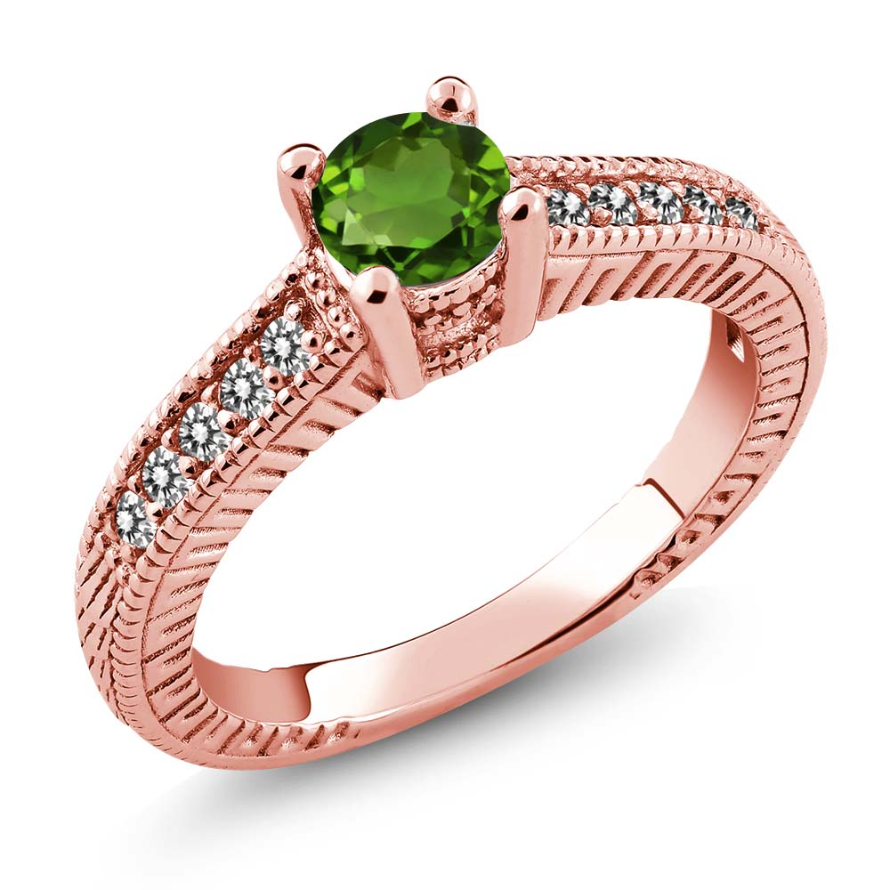 0.67 Ct Green Chrome Diopside White Diamond 925 Rose Gold Plated Silver Ring