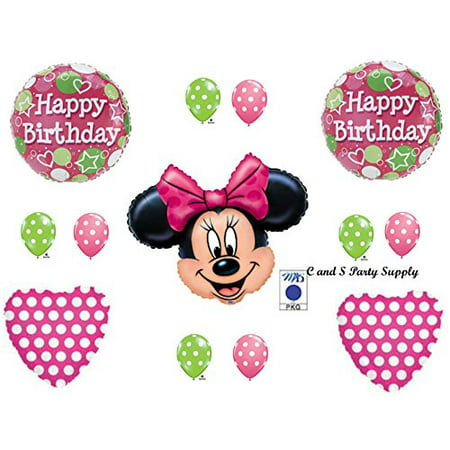 PINK MINNIE MOUSE Polka Dots Balloons Happy Birthday party Decoration Supplies - Pink Polka Dot Decorations