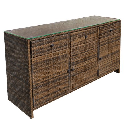 Espresso 3 Drawers Wicker Rattan Buffet Serving Cabinet Table Towel Counter