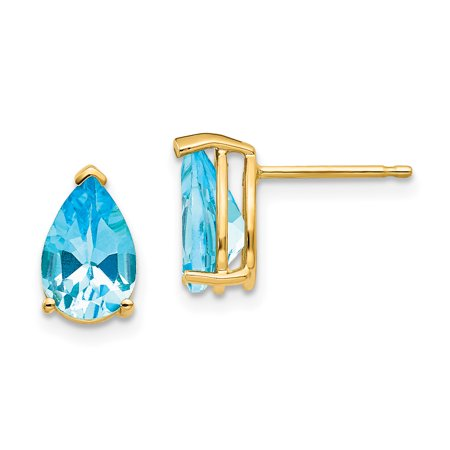 14k Yellow Gold 9x6mm Pear Blue Topaz Post Stud Earrings Gemstone Fine Jewelry Gifts For Women For Her - image 7 of 7