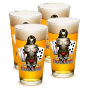 SET OF 4 Poker Texas Hold 'Em Know When To Hold Em 16 Ounce Pint Pub Glasses