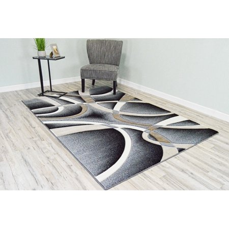 PREMIUM 3D Effect Hand Carved Thick Modern Contemporary Abstract Area Rug Design 2305 Sand Gray 5'3''x7'6'' ()