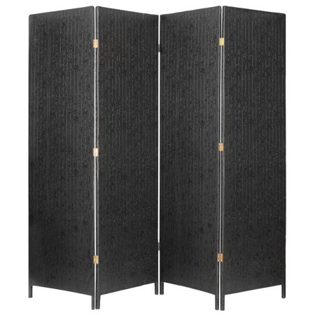 Panels Decorative Screens - MyGift Decorative 4 Panel Room Divider, Freestanding Privacy Screen w/ Chinese Calligraphy, Black