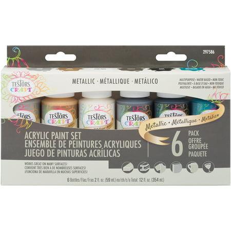 Testors Craft Acrylic Paint Set 6/Pkg-Metallic Jewels
