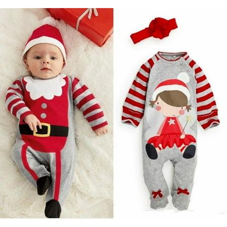Santa Baby Boys Girls Christmas Bodysuit Romper Hat Headband Outfits Set Sz 0~24M - image 4 of 5