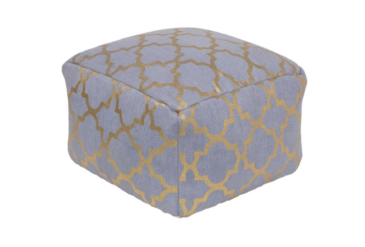"20""Jean Blue and Gold Moroccan Upholstered Woven Foot Stool Ottoman by Diva At Home"