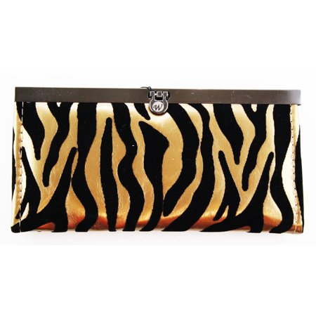 Stylish Japanese Compact Purse - Slim & Convenient Wallet (Zebra bronze) (Zebra Print Shoulder Bag)