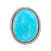 Ross-Simons Stabilized Turquoise Double-Frame Ring in Sterling Silver