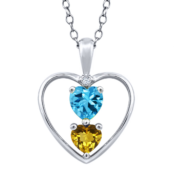 0.80 Ct Heart Shape Swiss Blue Topaz Yellow Citrine 18K White Gold Pendant by