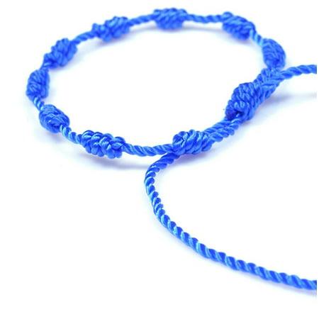 Handmade color thread knotted string rosary Decenario bracelet with dangling cross - men women children - blue color
