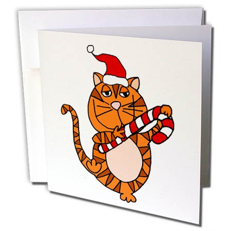 3dRose Funny Cute Orange Tabby Cat in Santa hat Christmas Cartoon - Greeting Card, 6 by 6-inch - Funny Christmas Hats Adults