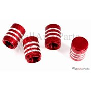 SmallAutoParts Red Aluminum With Chrome Stripes Valve Caps, Set Of 4